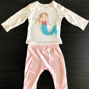 Mud Pie baby girl set with Mermaid appliqué